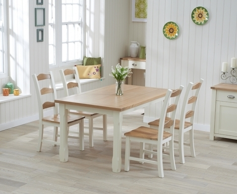 Sandringham Oak and Cream Painted Dining Table -130cm Extending & 4 Chairs