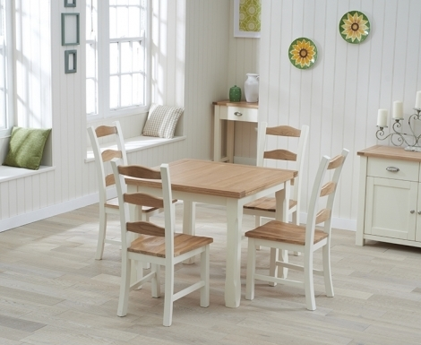 Sandringham Oak and Cream Painted Dining Table - 90cm Flip Top & 4 Chairs