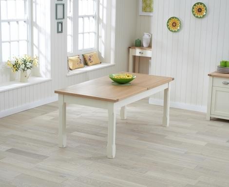 Sandringham Oak and Cream Painted Dining Table -180cm Extending