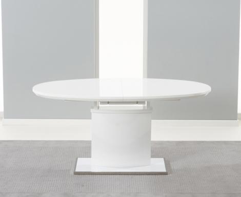 Seville White High Gloss Dining Table - 160cm Extending