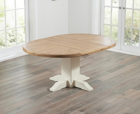 Turin, Oak and Cream, 125cm Round Extending, Dining Table