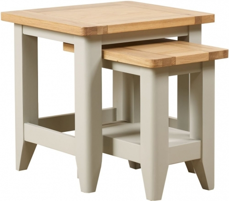 Bordeaux Painted Cool Grey and Oak Nest of 2 Tables