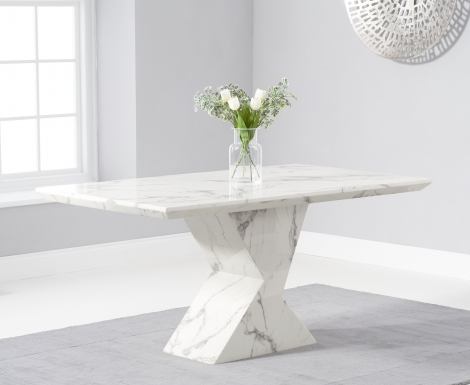 Aztec 160cm White Marble Dining Table