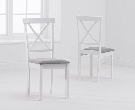 2x Elstree White Painted Dining Chairs Grey Fabric Seat Pad (Pair)