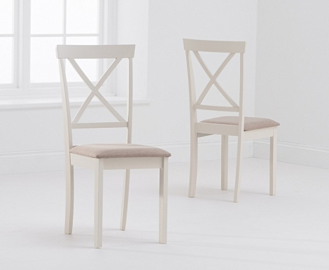 2x Elstree Cream Painted Dining Chairs Cream Fabric Seat Pad (Pair)