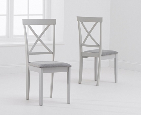 2x Elstree Grey Painted Dining Chairs Grey Fabric Seat Pad (Pair)
