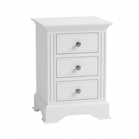Ashley White Painted 3 Drawer Bedside Cabinet