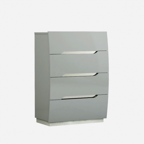 Lilly 4 Drawer Tall Chest in Light Grey High Gloss