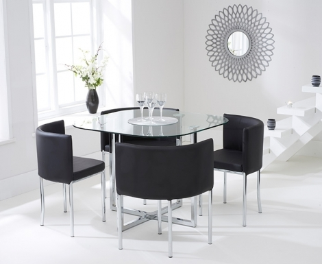 Stowaway Glass Dining Set with 4 Black Chairs