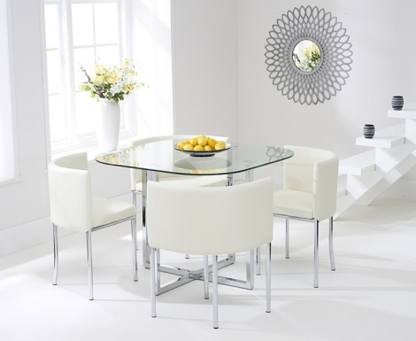 Stowaway Glass Dining Set with 4 Cream Chairs
