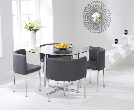 Stowaway Glass Dining Set with 4 Grey Chairs