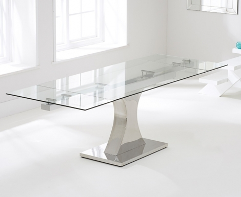 Amber 160cm - 240cm Extending Glass Top Dining Table