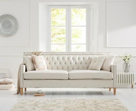 Casa Bella Ivory Linen Fabric 3 Seater Sofa