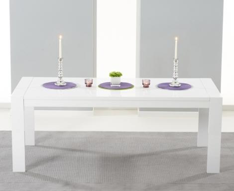Venice White High Gloss Dining Table - 200cm Extending