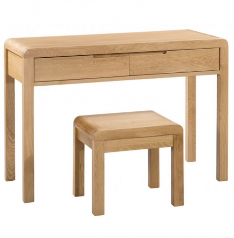 Geo, Oak, 2 Drawer Dressing Table & Stool