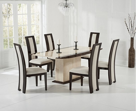 Assisi 180cm Cream & Brown Marble Dining Table & Rivilino Chairs