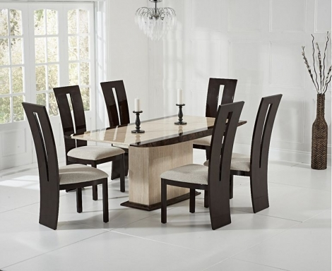 Assisi 180cm Cream & Brown Marble Dining Table & Valencie Chairs