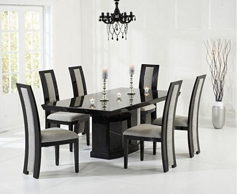 Como 200cm Black Marble Dining Table and Rivilino Chairs