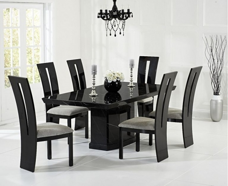 Como 200cm Black Marble Dining Table and Valencie Chairs