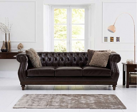 Highgrove Chesterfield Style Brown Leather 3 Seater Sofa