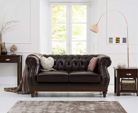 Highgrove Chesterfield Style Brown Leather 2 Seater Sofa