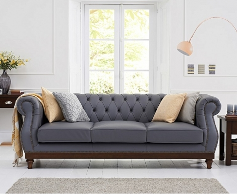 Highgrove Chesterfield Style Grey Leather 3 Seater Sofa