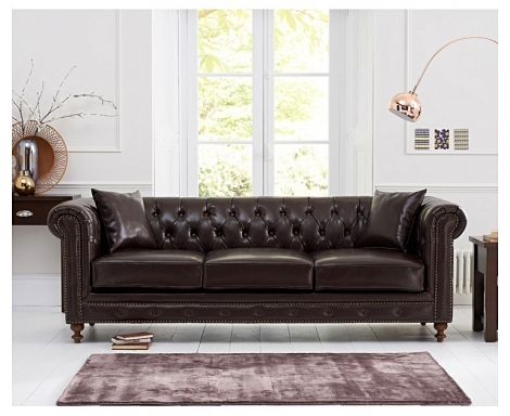 Milan Brown Leather 3 Seater Chesterfield Sofa