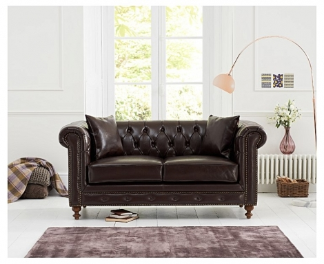 Milan Brown Leather 2 Seater Chesterfield Sofa