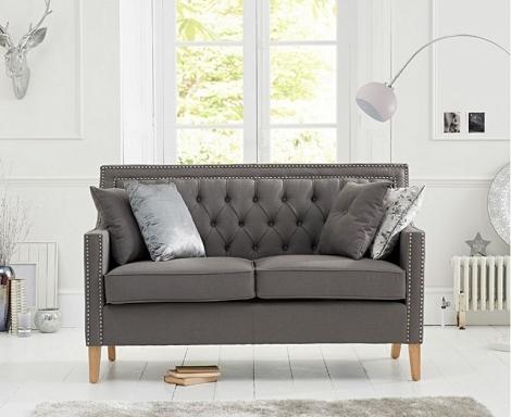 Casa Bella Grey Linen Fabric 2 Seater Sofa