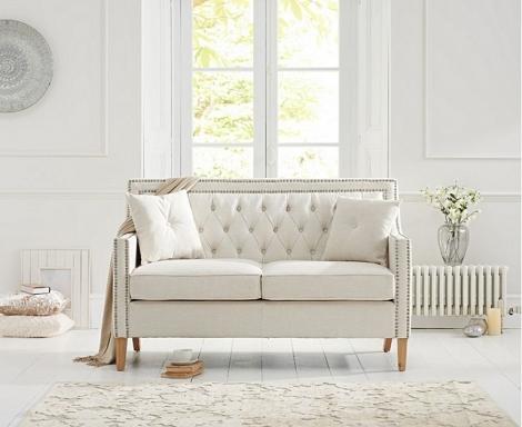 Casa Bella Ivory Linen Fabric 2 Seater Sofa