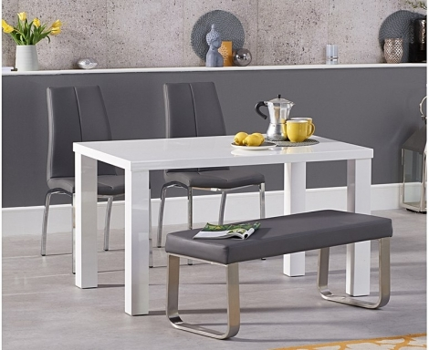 Ava 120cm White High Gloss Table with Carsen Chairs & Ava Bench