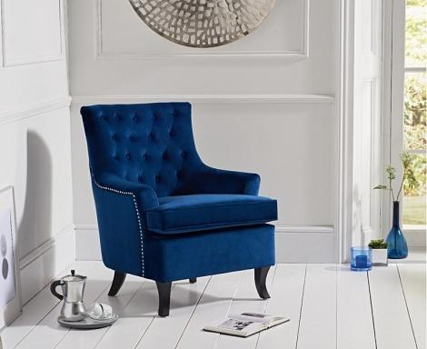 Barney Accent Chair - Blue Velvet
