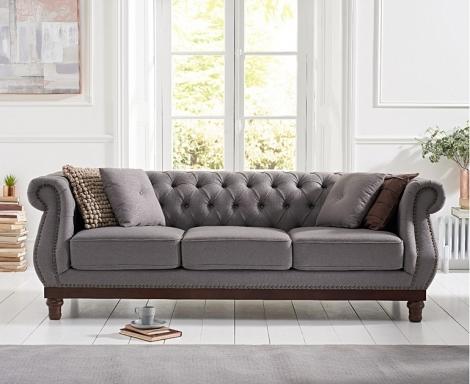 Highgrove Grey Linen Fabric 3 Seater Sofa