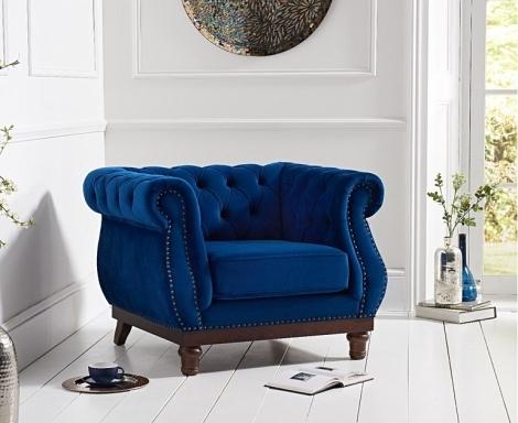 Highgrove Blue Plush Fabric Armchair
