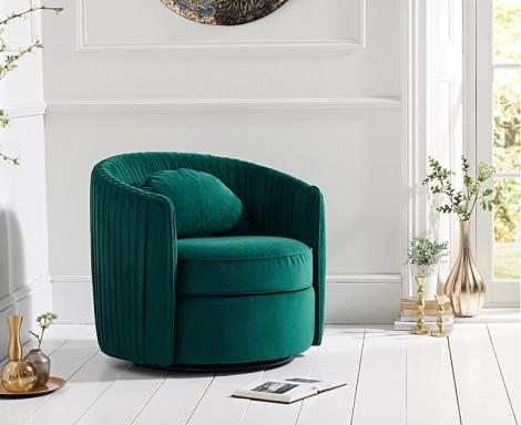 Sarana Swivel Chair - Green Velvet