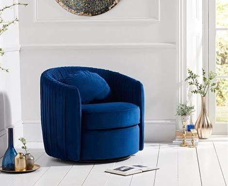Sarana Swivel Chair - Blue Velvet