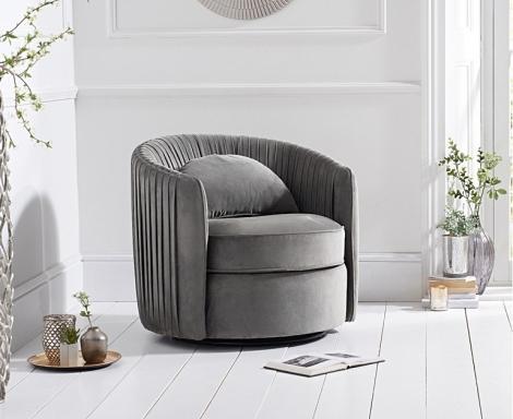 Sarana Swivel Chair - Grey Velvet