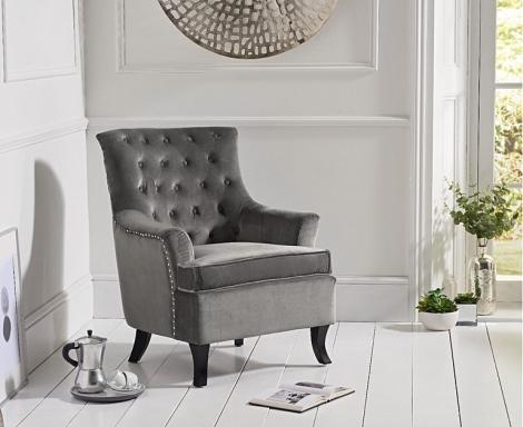 Barney Accent Chair - Grey Velvet