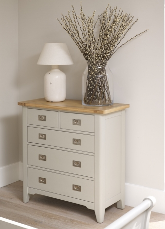 Bordeaux Cool Grey Painted and Oak Top 2+3 Drawer Chest