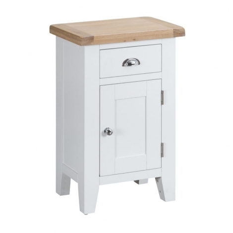 Hampstead Oak and White Painted 1 Door 1 Drawer Cupboard