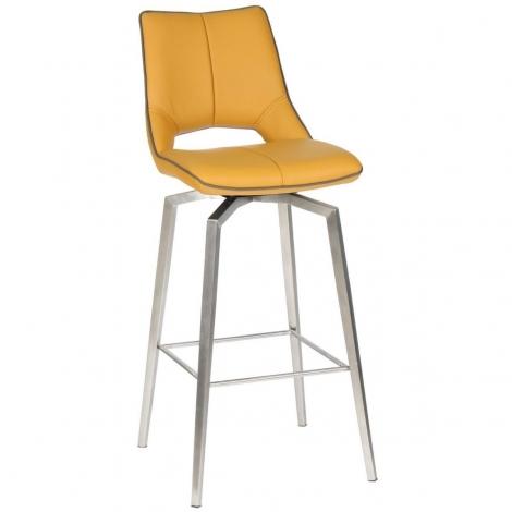 Mako, Leather Match, Self Returning Bar Chair, Medallion Yellow