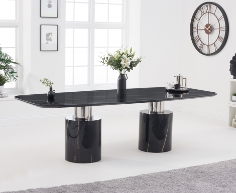 Adelaide 260cm Black Marble Dining Table