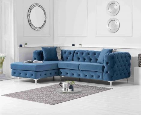 Bruni Blue Velvet Left Facing Chaise Sofa