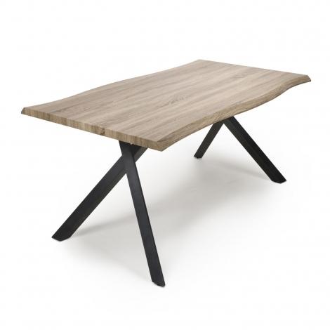 Norvik Industrial 160cm Curved Top Dining Table Black Metal Under Frame