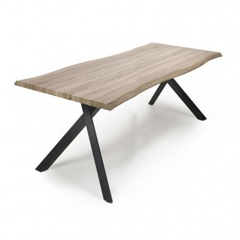 Norvik Industrial 180cm Curved Top Dining Table Black Metal Under Frame