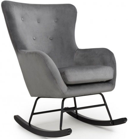 Alpine Grey Brushed Velvet Rocking Chair