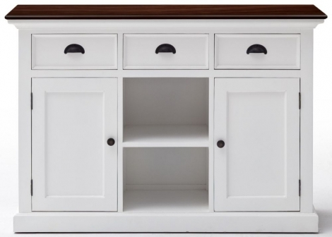 Nova Solo, Halifax Accent, Pure White Distress With Deep Brown Top, 2 Basket Sideboard