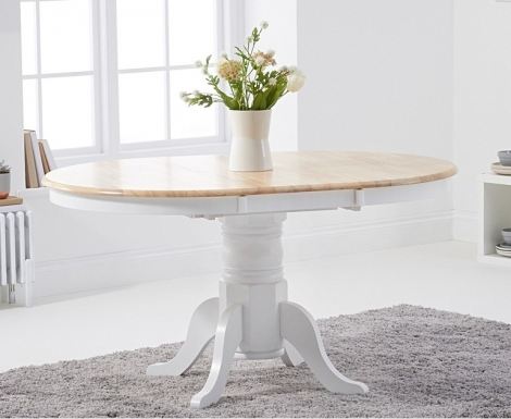 Elstree 100cm Extending Oak and White Painted Dining Table
