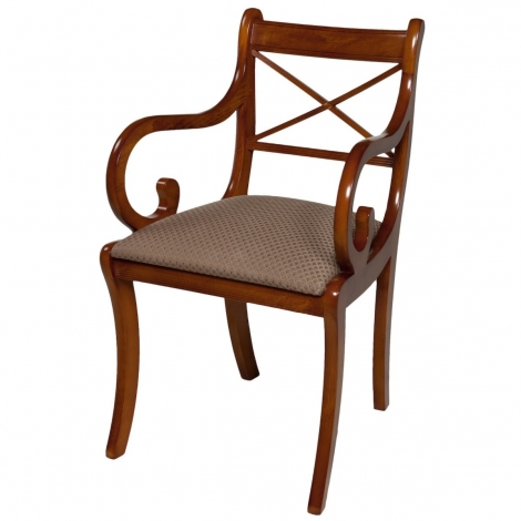 Ashmore Antique Reproduction, Scroll Cross Sticks Carver Chair