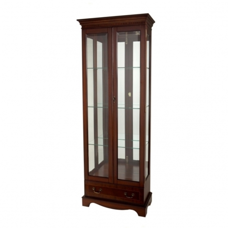 Ashmore Antique Reproduction, Tall China Display With Drawer